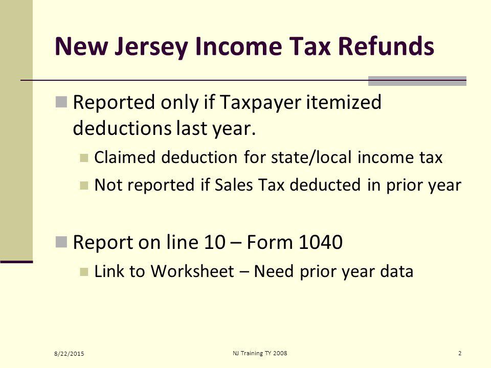 8222015nj Training Ty State Income Tax Refund Alimony Module Nj