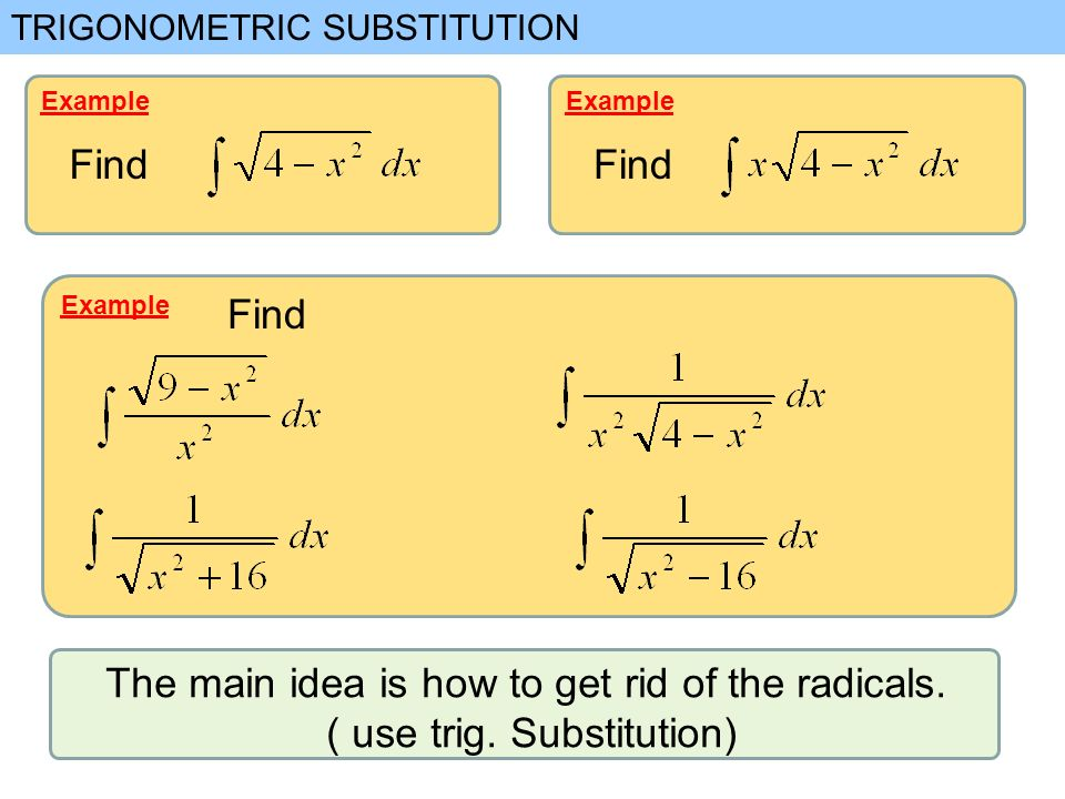 Trigonometric substitution note we convert the radical into a example find example find example find the main idea is how to get rid of the ccuart Gallery