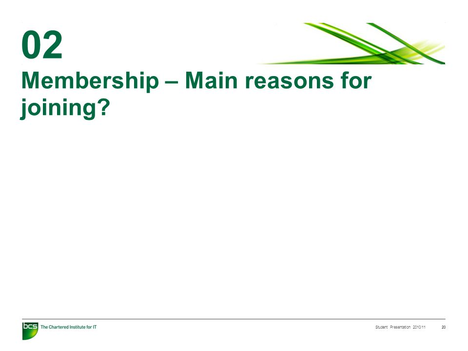 Student Presentation 2010/11 20 Membership – Main reasons for joining 02