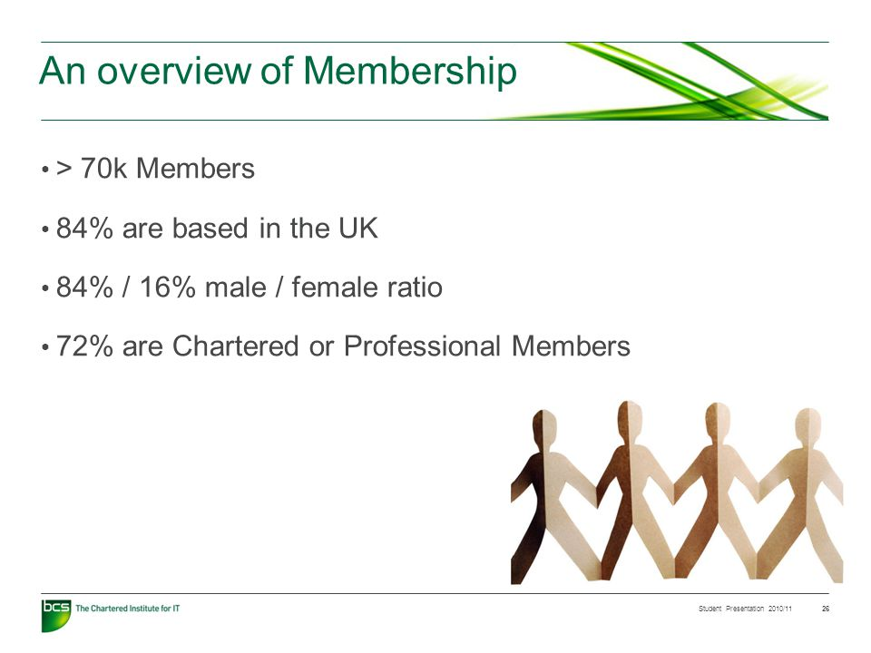 Student Presentation 2010/11 26 An overview of Membership > 70k Members 84% are based in the UK 84% / 16% male / female ratio 72% are Chartered or Professional Members