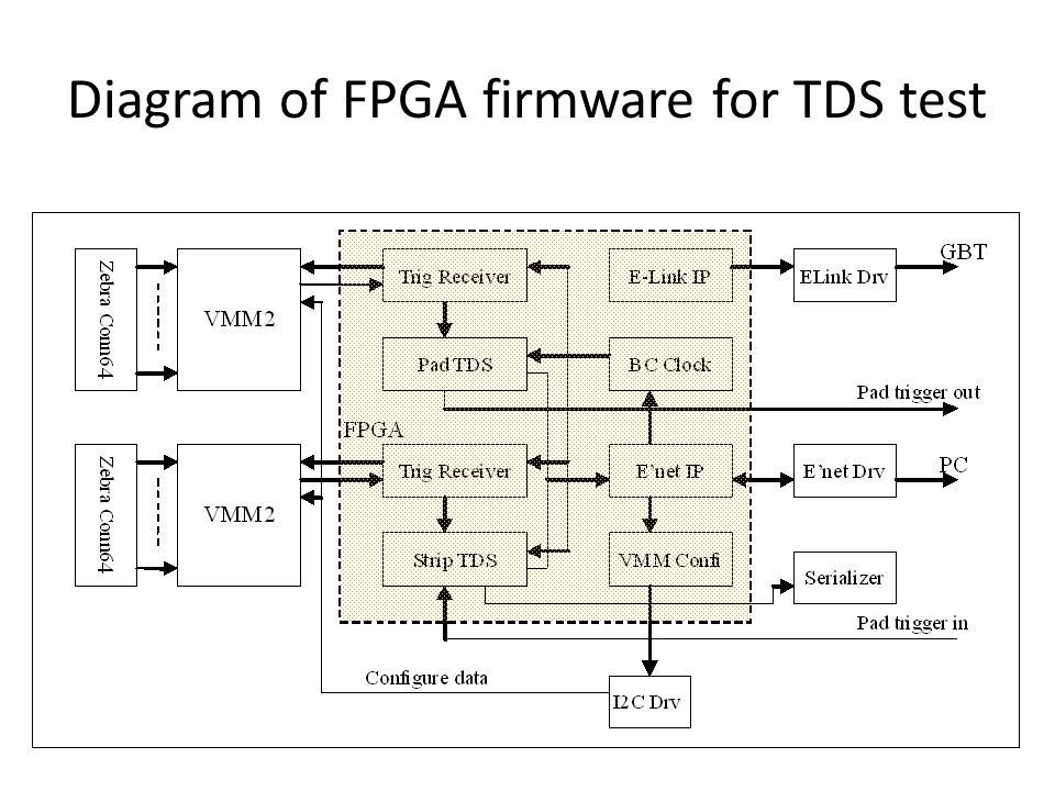 Diagram of FPGA firmware for TDS test