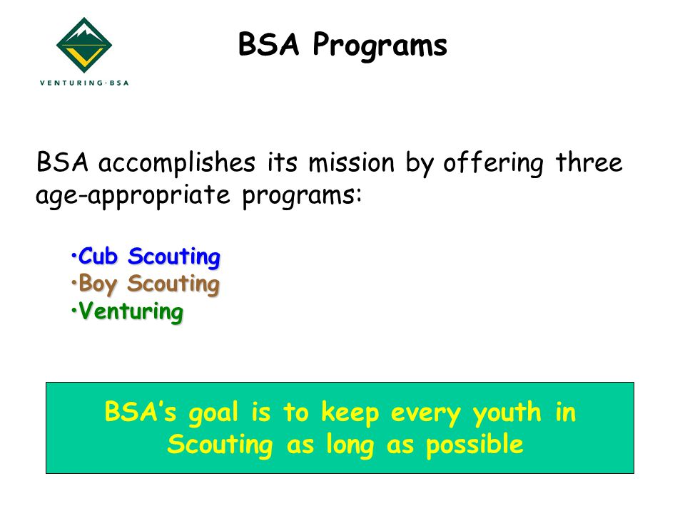 BSA Programs BSA accomplishes its mission by offering three age-appropriate programs: Cub ScoutingCub Scouting Boy ScoutingBoy Scouting VenturingVenturing BSA's goal is to keep every youth in Scouting as long as possible