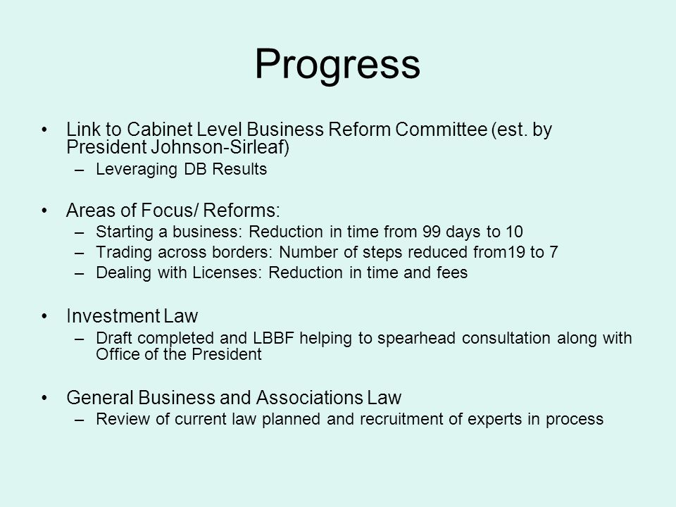 Progress Link to Cabinet Level Business Reform Committee (est.