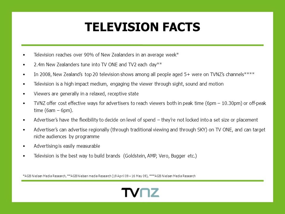 TELEVISION FACTS Television reaches over 90% of New Zealanders in an average week* 2.4m New Zealanders tune into TV ONE and TV2 each day** In 2008, New Zealand's top 20 television shows among all people aged 5+ were on TVNZ's channels**** Television is a high impact medium, engaging the viewer through sight, sound and motion Viewers are generally in a relaxed, receptive state TVNZ offer cost effective ways for advertisers to reach viewers both in peak time (6pm – 10.30pm) or off-peak time (6am – 6pm).
