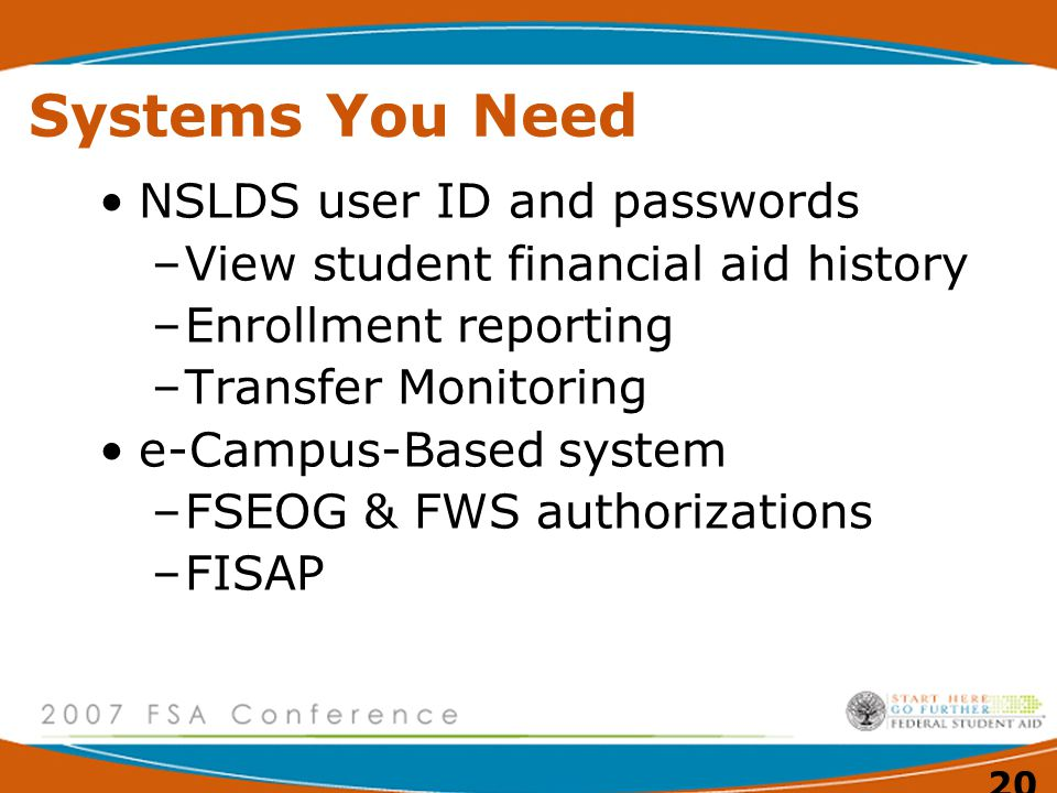 20 Systems You Need NSLDS user ID and passwords –View student financial aid history –Enrollment reporting –Transfer Monitoring e-Campus-Based system –FSEOG & FWS authorizations –FISAP