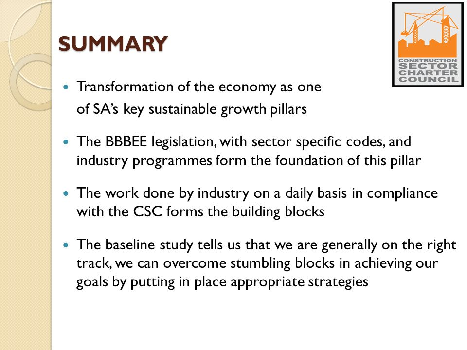 SUMMARY Transformation of the economy as one of SA's key sustainable growth pillars The BBBEE legislation, with sector specific codes, and industry programmes form the foundation of this pillar The work done by industry on a daily basis in compliance with the CSC forms the building blocks The baseline study tells us that we are generally on the right track, we can overcome stumbling blocks in achieving our goals by putting in place appropriate strategies