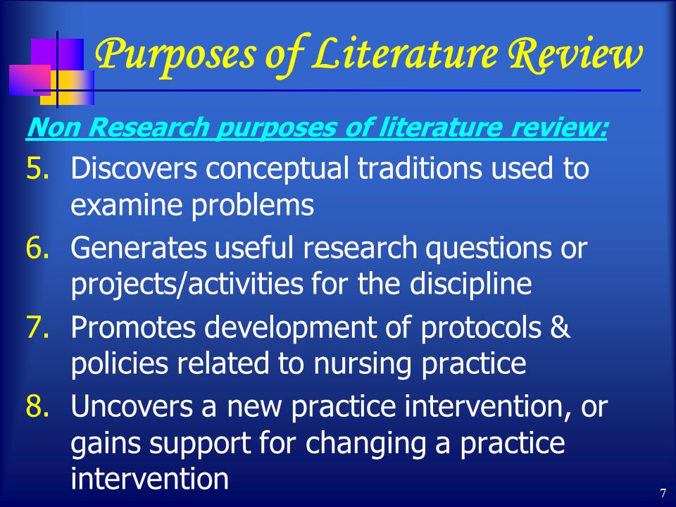 what is the purpose of a literature review in nursing research Implementing evidence into practice requires nurses to identify, critically appraise and synthesise research this may require a comprehensive literature review: this article aims to outline the approaches and stages required and provides a working example of a published review.