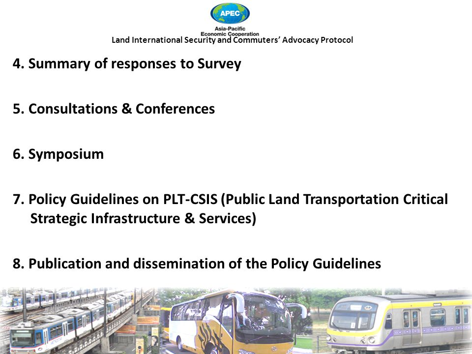Land International Security and Commuters' Advocacy Protocol 4.