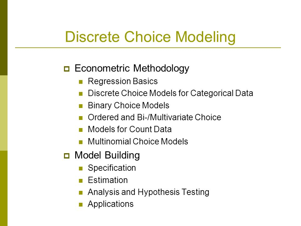 regression analysis and mode choice model Another well-used latent variable model motivation: self-reported visual functioning • questionnaires have proliferated latent class analysis/ regression.