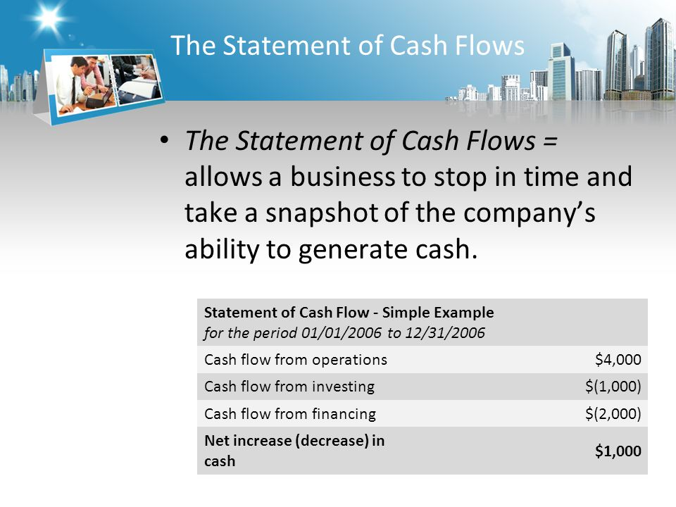 The Statement of Cash Flows The Statement of Cash Flows = allows a business to stop in time and take a snapshot of the company's ability to generate cash.