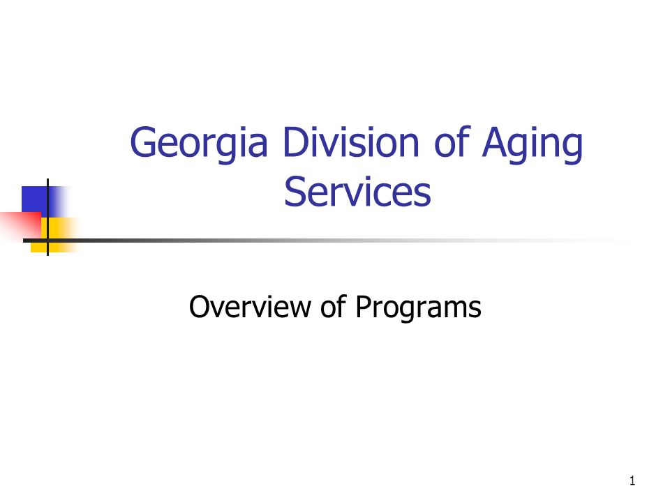 1 Georgia Division of Aging Services Overview of Programs