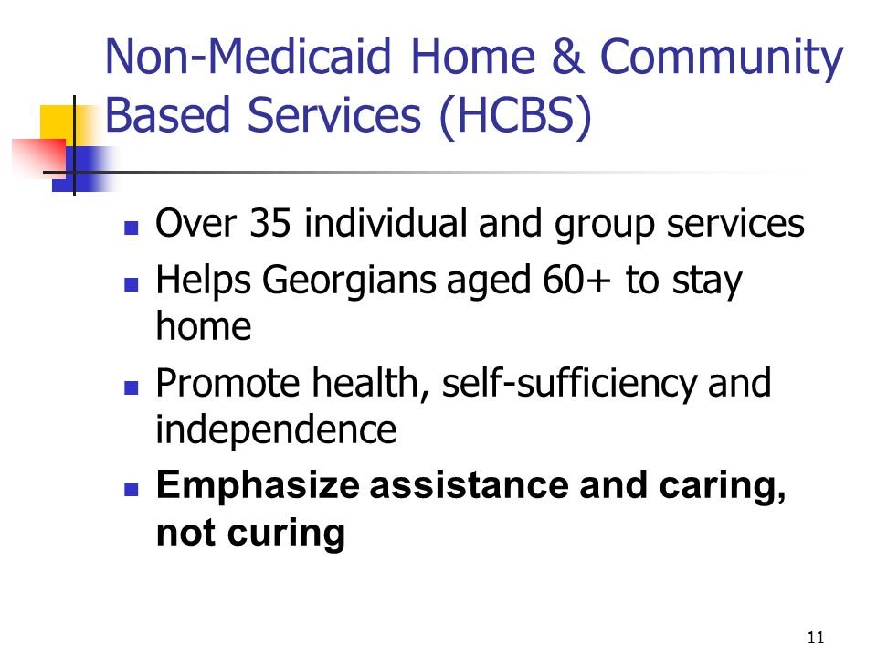 11 Non-Medicaid Home & Community Based Services (HCBS) Over 35 individual and group services Helps Georgians aged 60+ to stay home Promote health, self-sufficiency and independence Emphasize assistance and caring, not curing