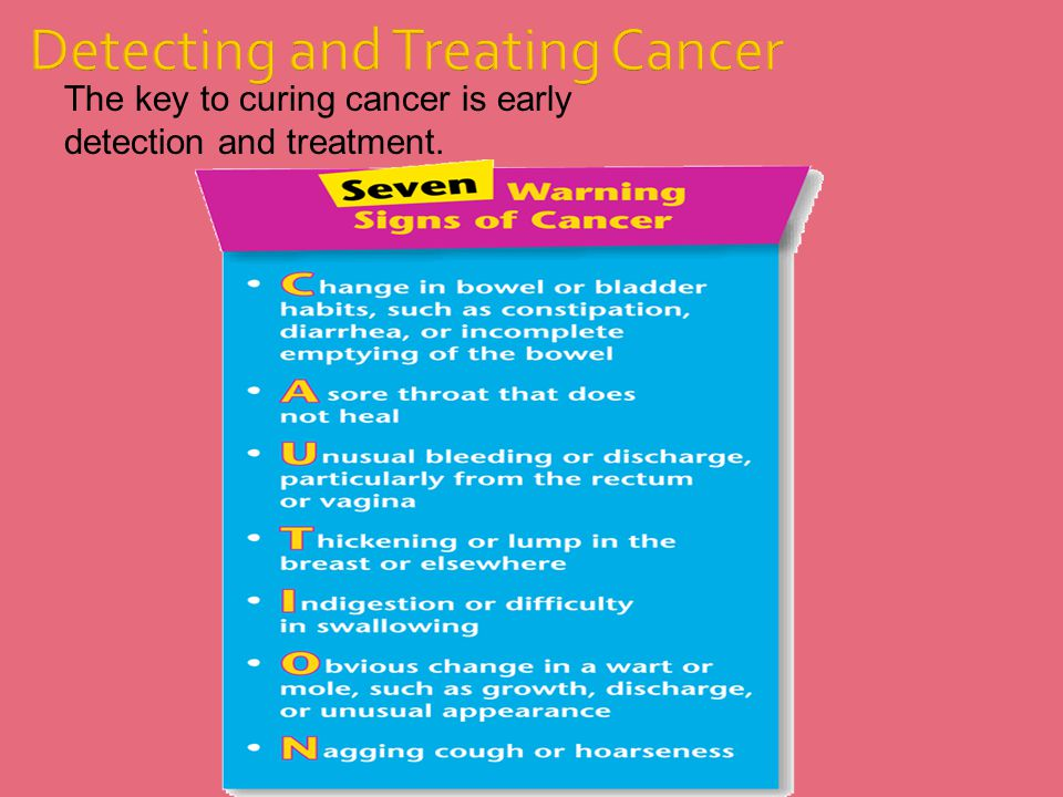 The key to curing cancer is early detection and treatment. Detecting and Treating Cancer