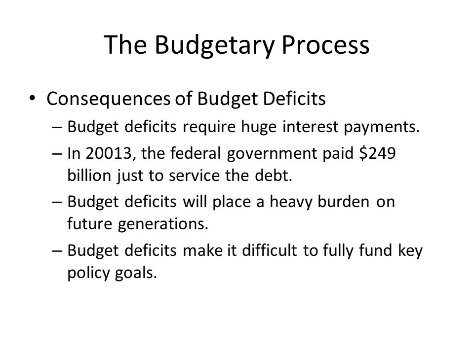 The Budgetary Process Consequences of Budget Deficits – Budget deficits require huge interest payments.