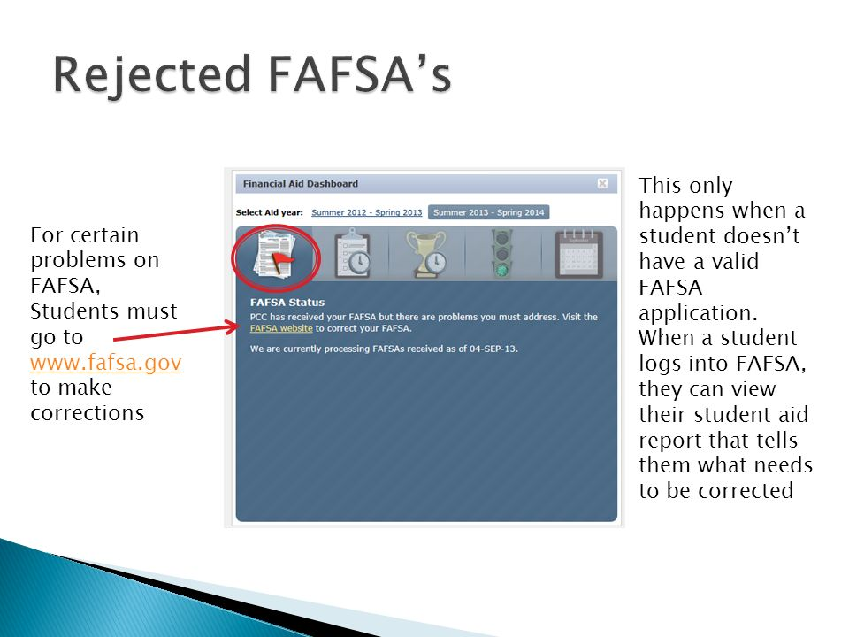For certain problems on FAFSA, Students must go to   to make corrections   This only happens when a student doesn't have a valid FAFSA application.