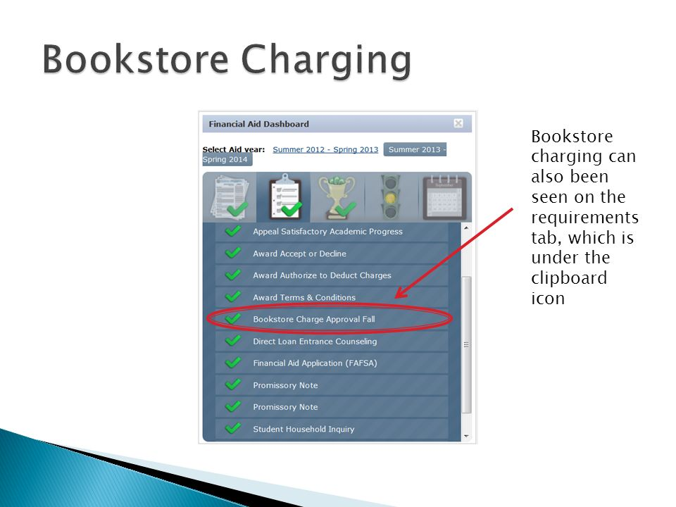 Bookstore charging can also been seen on the requirements tab, which is under the clipboard icon