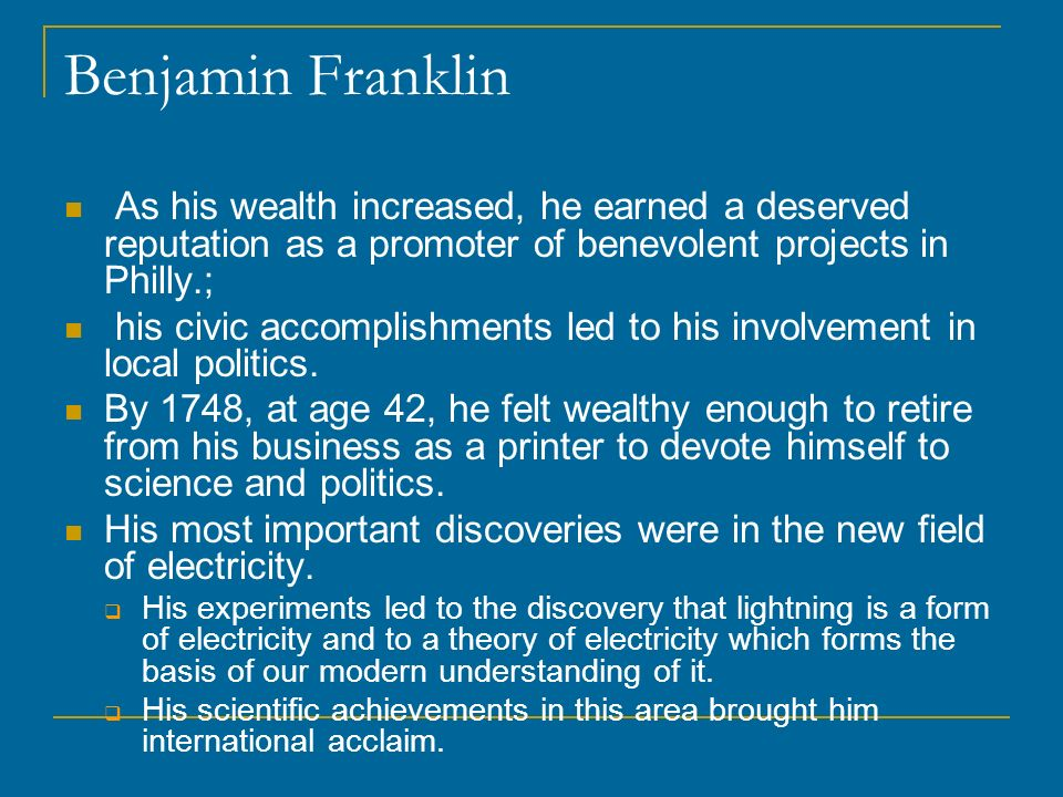 the accomplishments of benjamin franklin