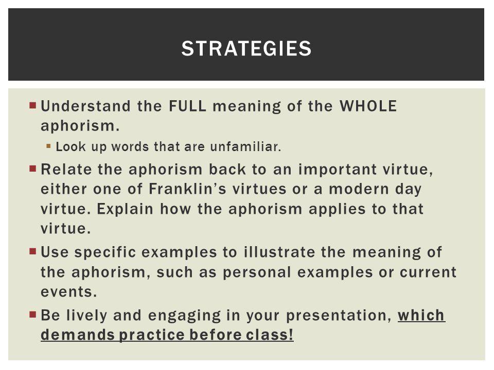 Characteristics of aphoristic essay examples