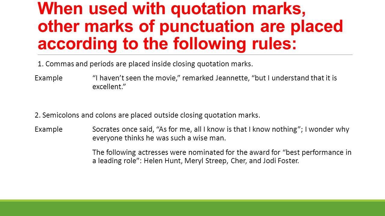 Quotation Marks And Punctuation Underntanacountryinn