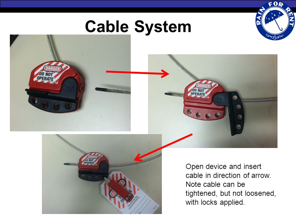 Cable System Open device and insert cable in direction of arrow.