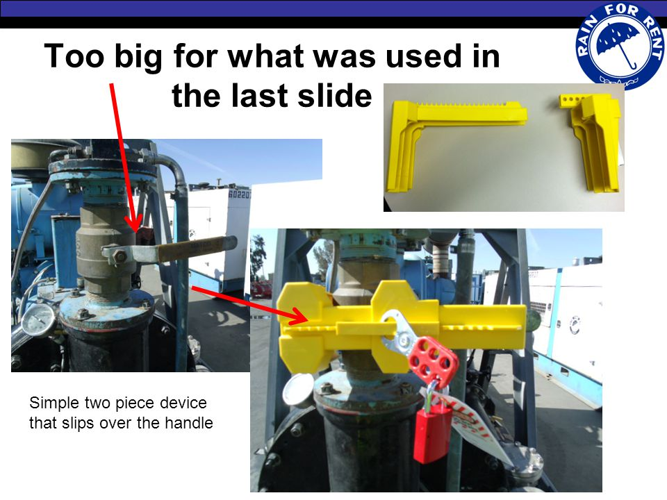 Too big for what was used in the last slide Simple two piece device that slips over the handle