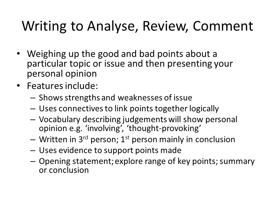 features of an opinion essay