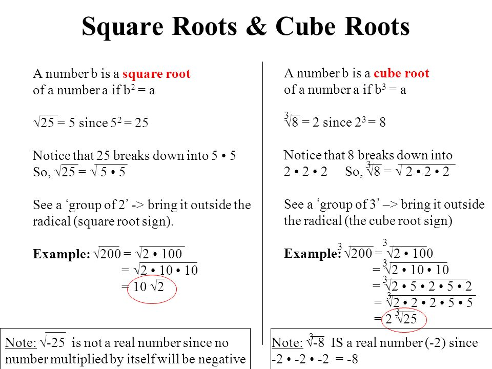 Square Roots & Cube Roots A number b is a square root of a number a if b 2 = a  25 = 5 since 5 2 = 25 Notice that 25 breaks down into 5 5 So,  25 =  5 5 See a 'group of 2' -> bring it outside the radical (square root sign).