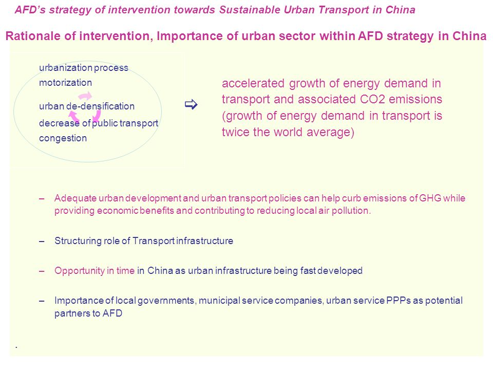 urbanization process motorization urban de-densification  decrease of public transport congestion –Adequate urban development and urban transport policies can help curb emissions of GHG while providing economic benefits and contributing to reducing local air pollution.