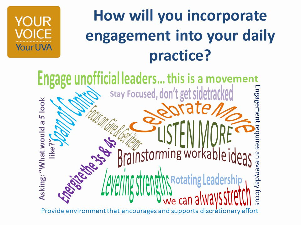 How will you incorporate engagement into your daily practice.
