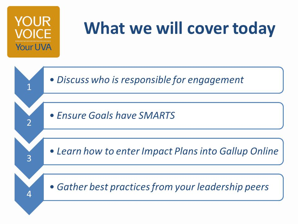 What we will cover today 1 Discuss who is responsible for engagement 2 Ensure Goals have SMARTS 3 Learn how to enter Impact Plans into Gallup Online 4 Gather best practices from your leadership peers