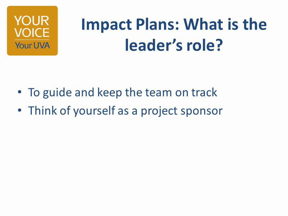 Impact Plans: What is the leader's role.