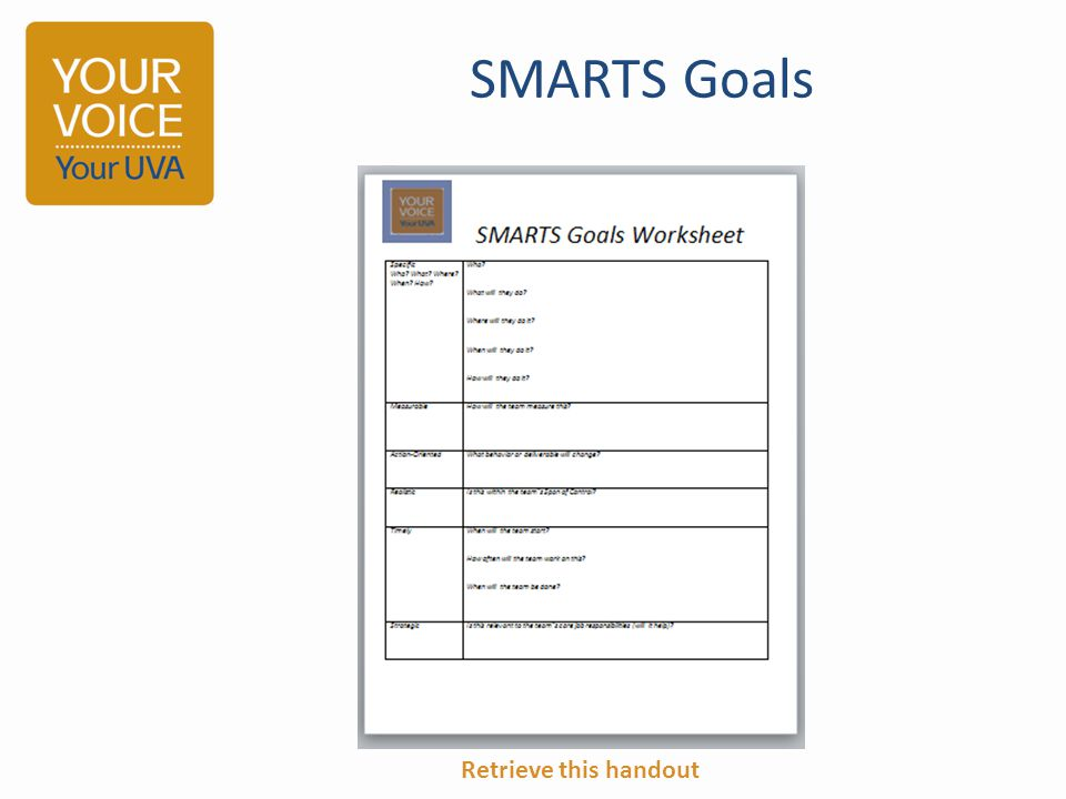 SMARTS Goals Retrieve this handout