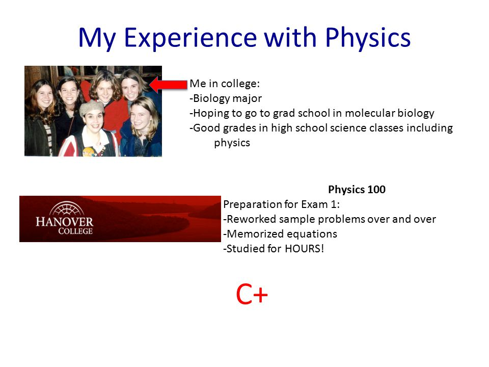 My Experience with Physics Me in college: -Biology major -Hoping to go to grad school in molecular biology -Good grades in high school science classes including physics Physics 100 Preparation for Exam 1: -Reworked sample problems over and over -Memorized equations -Studied for HOURS.