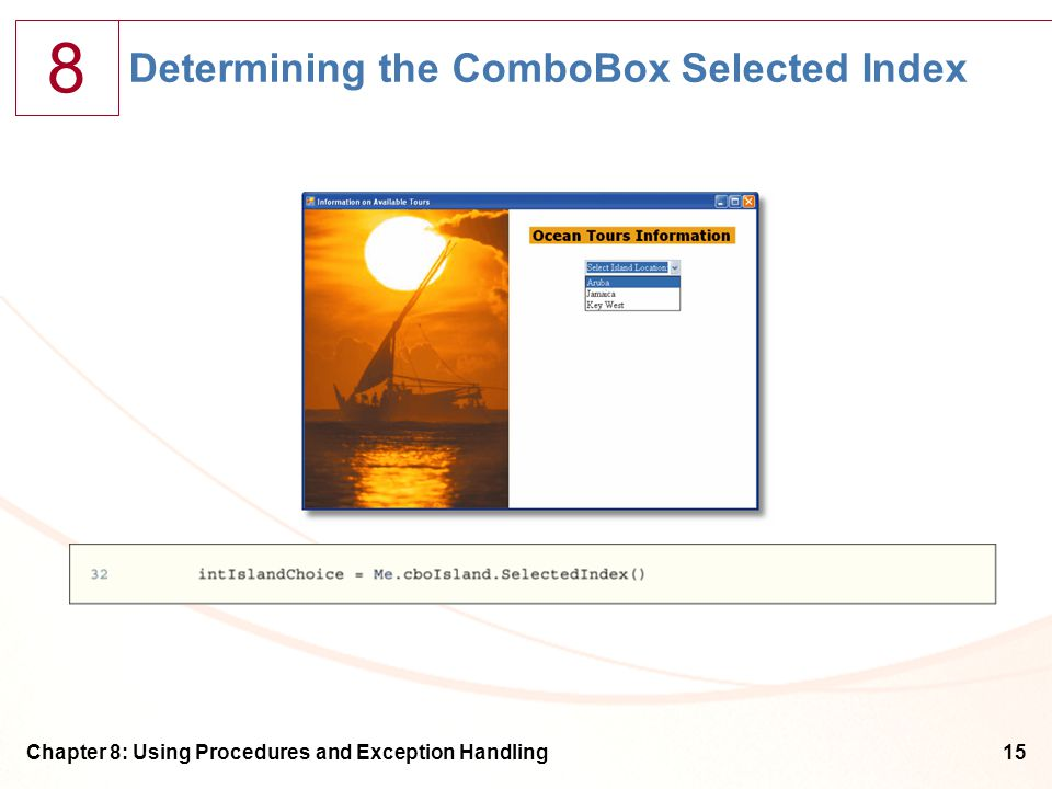 8 Chapter 8: Using Procedures and Exception Handling15 Determining the ComboBox Selected Index