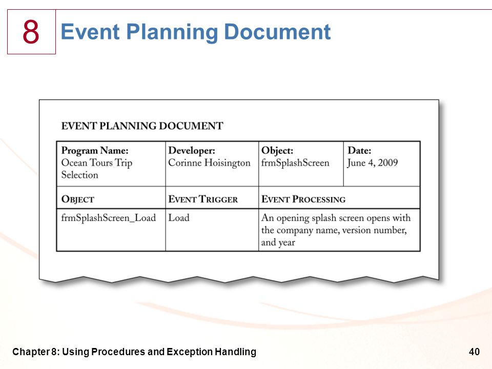 8 Chapter 8: Using Procedures and Exception Handling40 Event Planning Document