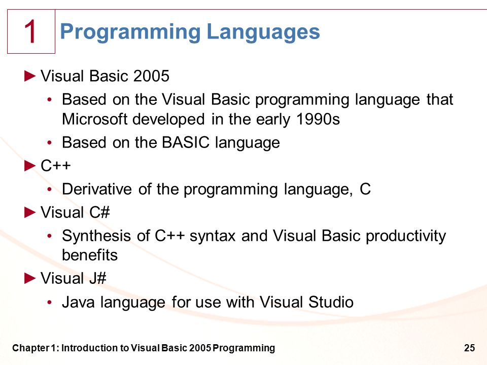 1 Chapter 1: Introduction to Visual Basic 2005 Programming25 Programming Languages ►Visual Basic 2005 Based on the Visual Basic programming language that Microsoft developed in the early 1990s Based on the BASIC language ►C++ Derivative of the programming language, C ►Visual C# Synthesis of C++ syntax and Visual Basic productivity benefits ►Visual J# Java language for use with Visual Studio