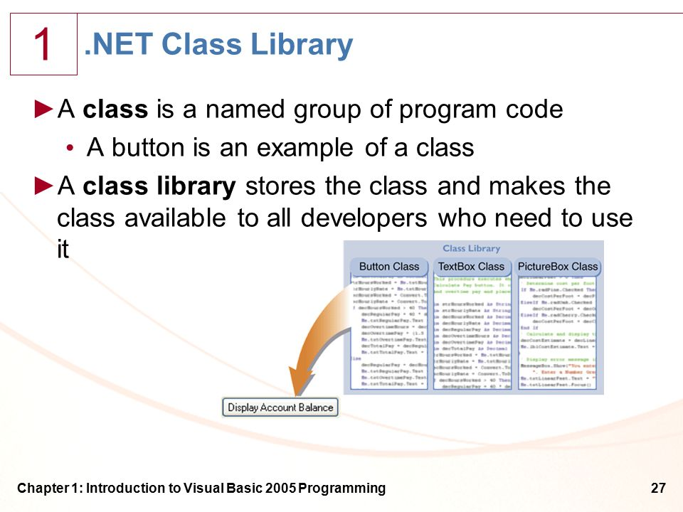 1 Chapter 1: Introduction to Visual Basic 2005 Programming27.NET Class Library ►A class is a named group of program code A button is an example of a class ►A class library stores the class and makes the class available to all developers who need to use it