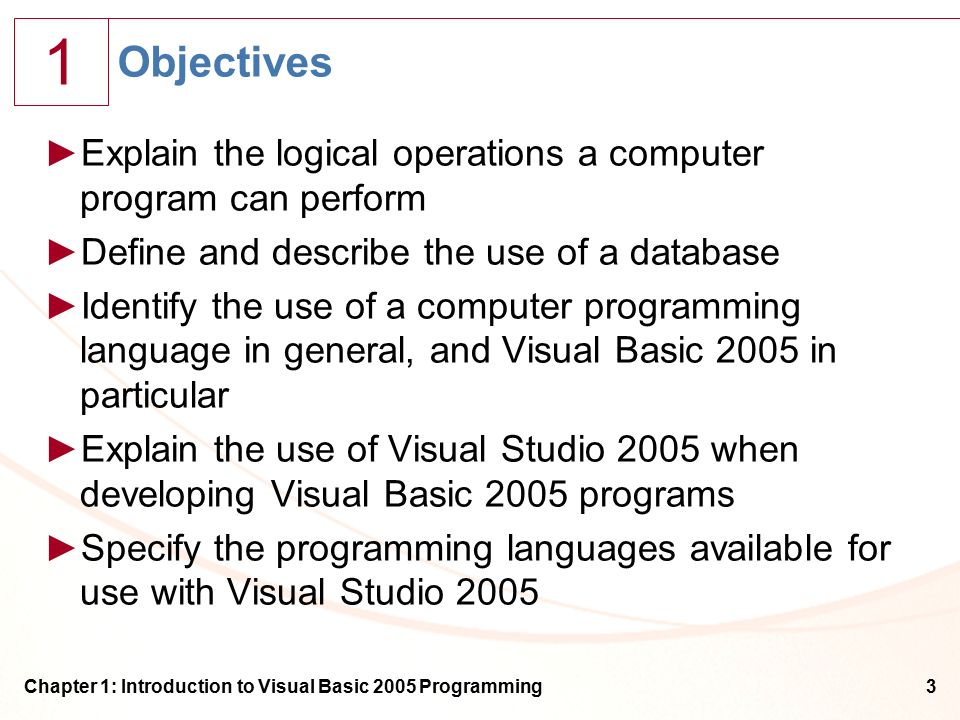 1 Chapter 1: Introduction to Visual Basic 2005 Programming3 Objectives ►Explain the logical operations a computer program can perform ►Define and describe the use of a database ►Identify the use of a computer programming language in general, and Visual Basic 2005 in particular ►Explain the use of Visual Studio 2005 when developing Visual Basic 2005 programs ►Specify the programming languages available for use with Visual Studio 2005