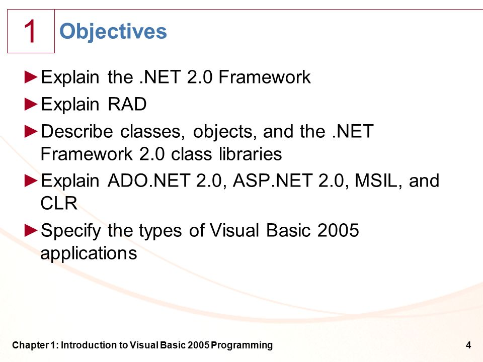 1 Chapter 1: Introduction to Visual Basic 2005 Programming4 Objectives ►Explain the.NET 2.0 Framework ►Explain RAD ►Describe classes, objects, and the.NET Framework 2.0 class libraries ►Explain ADO.NET 2.0, ASP.NET 2.0, MSIL, and CLR ►Specify the types of Visual Basic 2005 applications