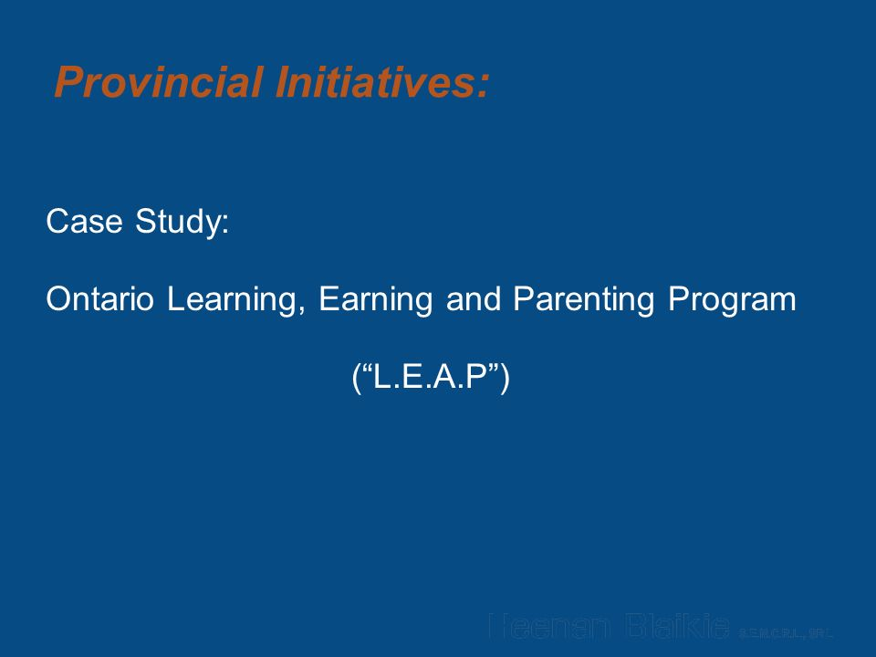 Provincial Initiatives: Case Study: Ontario Learning, Earning and Parenting Program ( L.E.A.P )