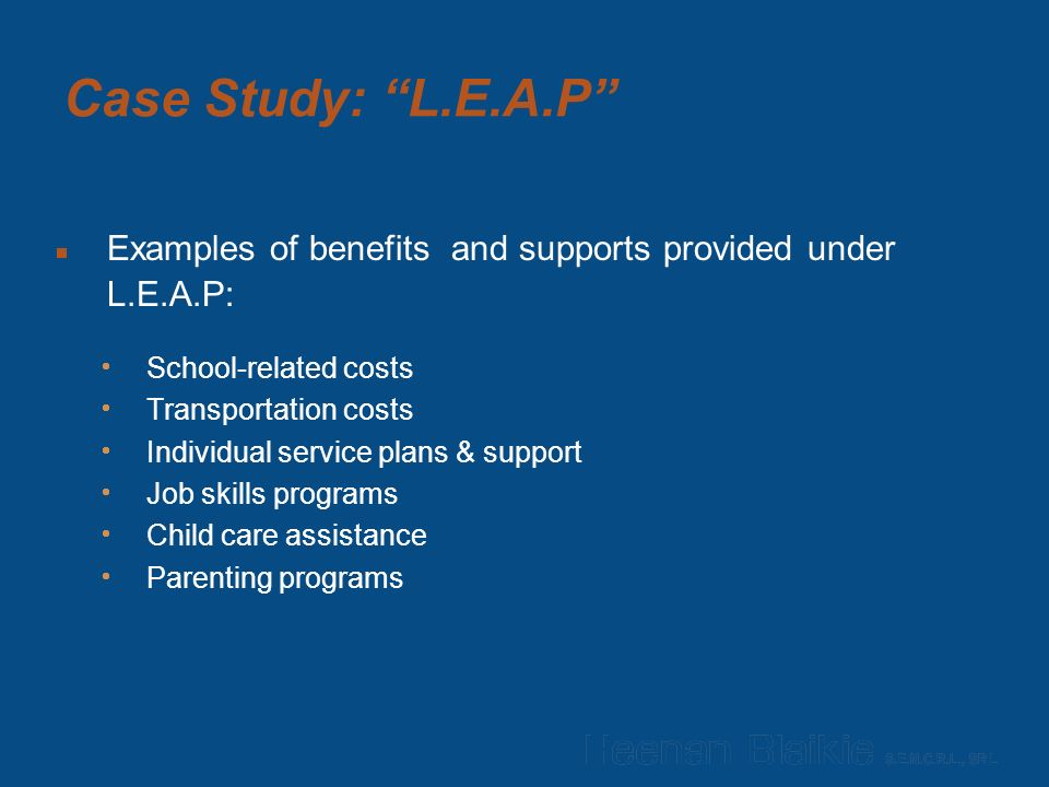 Case Study: L.E.A.P  Examples of benefits and supports provided under L.E.A.P:  School-related costs  Transportation costs  Individual service plans & support  Job skills programs  Child care assistance  Parenting programs