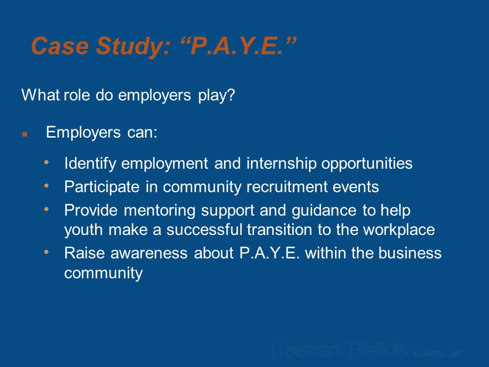 Case Study: P.A.Y.E. What role do employers play.