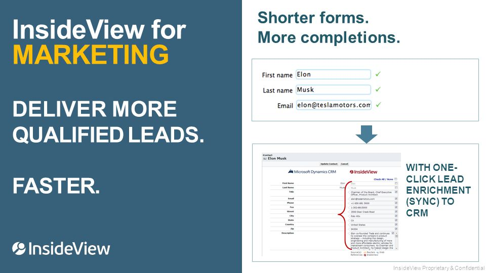 InsideView for MARKETING DELIVER MORE QUALIFIED LEADS.