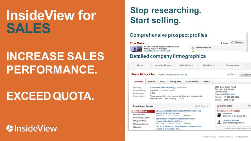 InsideView for SALES INCREASE SALES PERFORMANCE. EXCEED QUOTA.