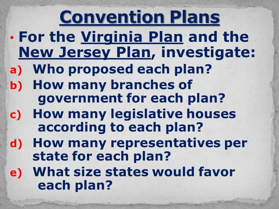 For the Virginia Plan and the New Jersey Plan, investigate: a) Who proposed each plan.