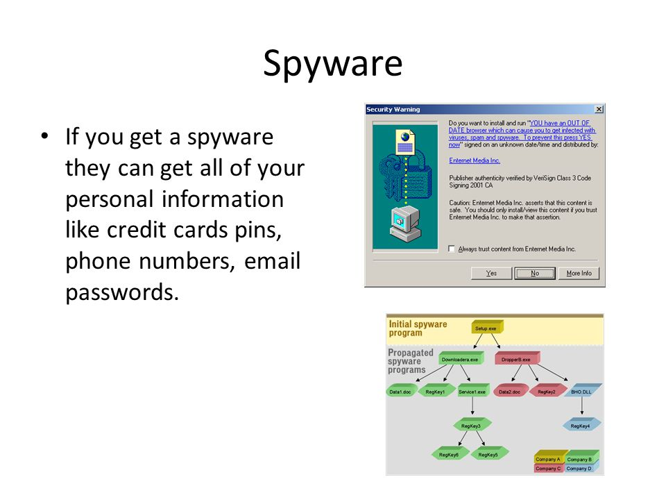 Spyware If you get a spyware they can get all of your personal information like credit cards pins, phone numbers,  passwords.