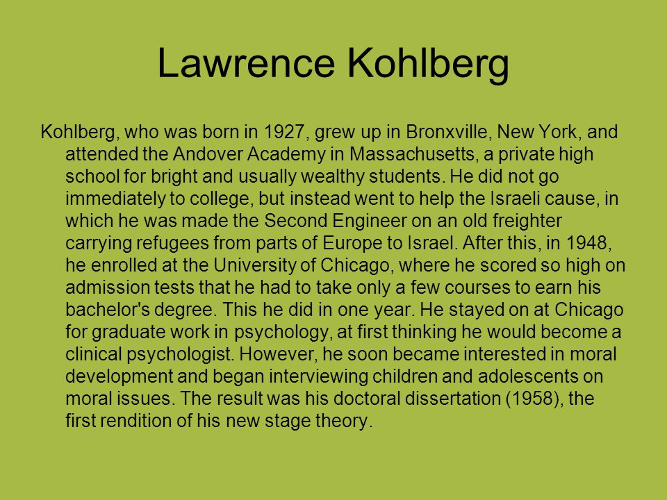 a research on moral development by lawrence kohlberg