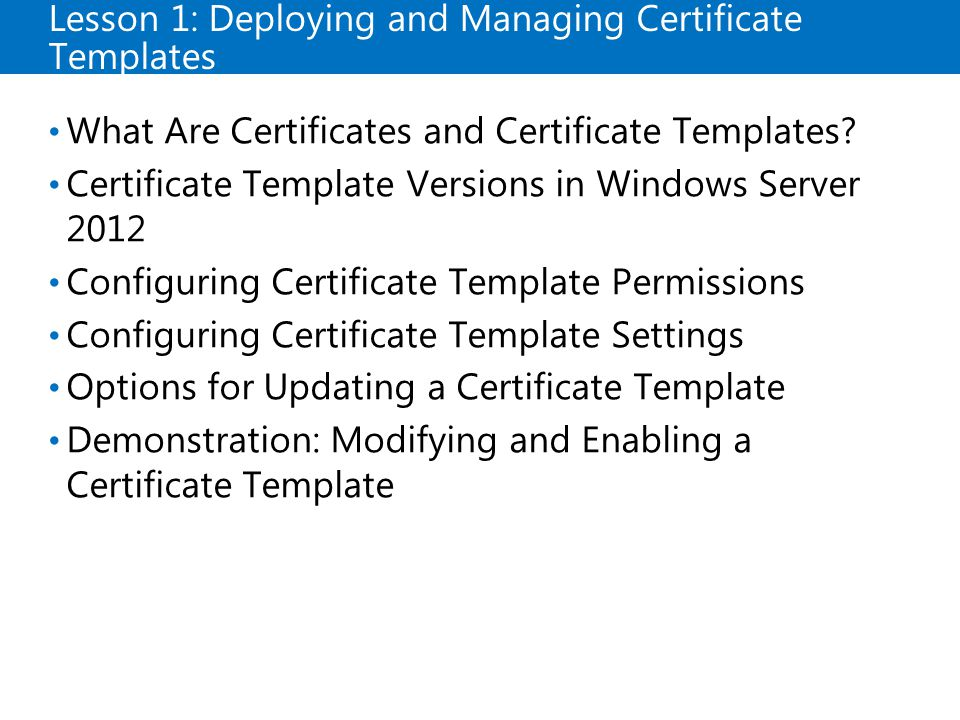 Certificate template default permissions choice image microsoft official course module 8 deploying and managing lesson 1 deploying and managing certificate templates what yelopaper Choice Image