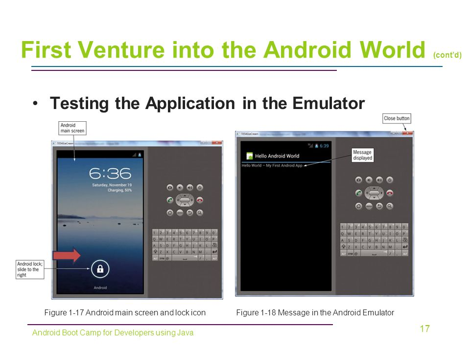 Testing the Application in the Emulator 17 Figure 1-17 Android main screen and lock iconFigure 1-18 Message in the Android Emulator Android Boot Camp for Developers using Java First Venture into the Android World (cont'd)