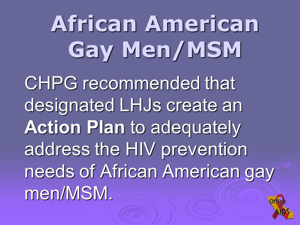 CHPG recommended that designated LHJs create an Action Plan to adequately address the HIV prevention needs of African American gay men/MSM.